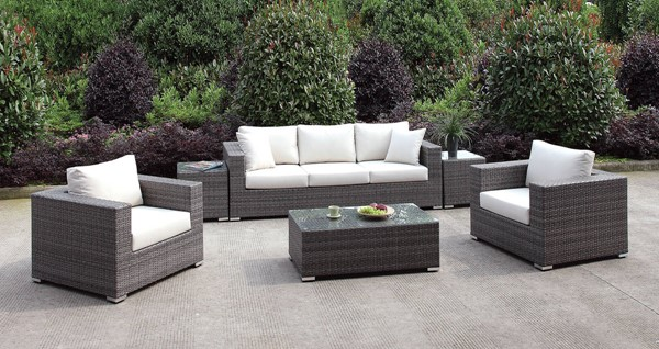 Furniture of America Somani Gray Ivory 6pc Outdoor Seating Sets with Sofa FOA-CM-OS2128-SET-VAR1