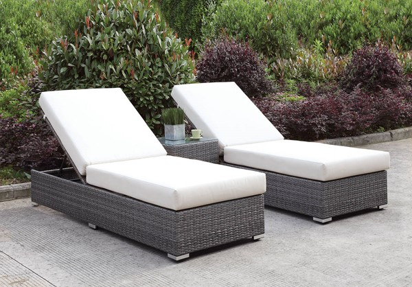 Furniture of America Somani 3pc Outdoor Seating Set with 2 Chaise FOA-CM-OS2128-SET24