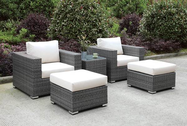 Furniture of America Somani Gray Ivory 5pc Outdoor Seating Sets FOA-CM-OS2128-SET-VAR2