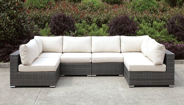 Furniture of America Somani Gray Ivory 6pc Outdoor U Sectionals FOA-CM-OS2128-SEC-VAR