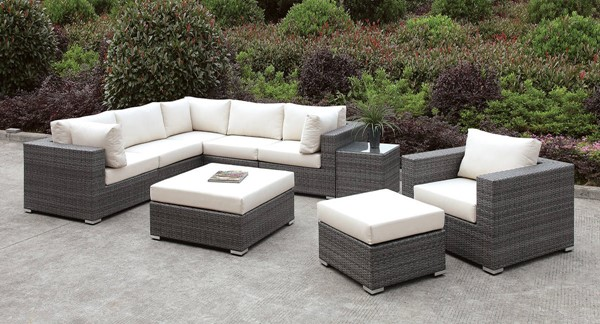 Furniture of America Somani Gray Ivory 9pc Outdoor L Sectionals FOA-CM-OS2128-SEC-VAR2