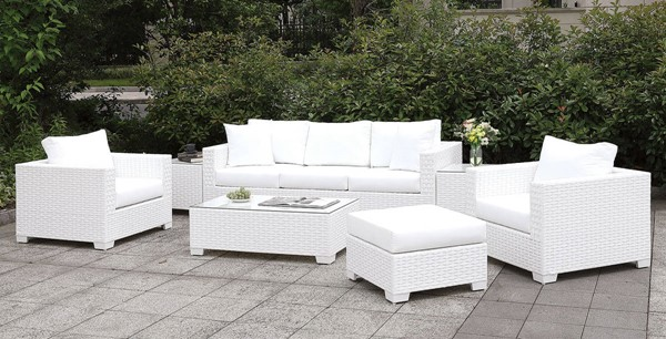 Furniture of America Somani White 3pc Outdoor Seating Set with Chair FOA-CM-OS2128WH-SET16