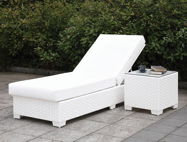 Furniture Of America Somani II White Adjustable Chaise And End Table FOA-CM-OS2128WH-SET19