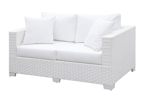 Furniture of America Somani White Loveseat with 2 Pillows FOA-CM-OS2128WH-J