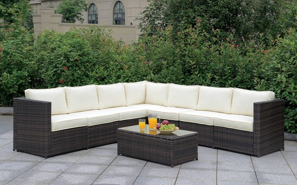Furniture of America Ilona Brown Beige 8pc Outdoor L Sectional FOA-CM-OS2136-SET3