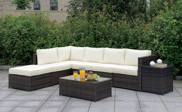 Furniture of America Ilona Brown Beige LAF 8pc Outdoor L Sectional FOA-CM-OS2136-SET4