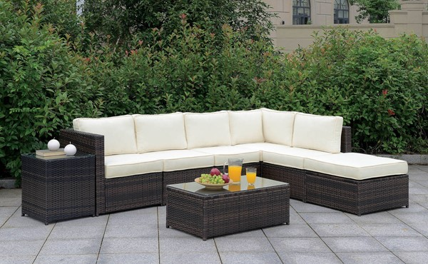 Furniture of America Ilona Brown Beige RAF 8pc Outdoor L Sectional FOA-CM-OS2136-SET5