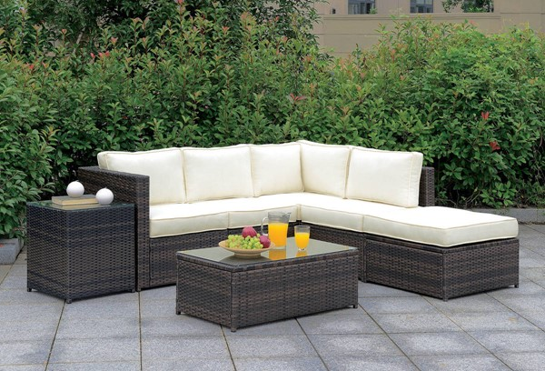 Furniture of America Ilona Brown Beige RAF 7pc Outdoor L Sectional FOA-CM-OS2136-SET7