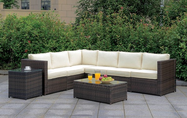 Furniture of America Ilona Brown Beige Outdoor L Sectional FOA-CM-OS2136-SET8