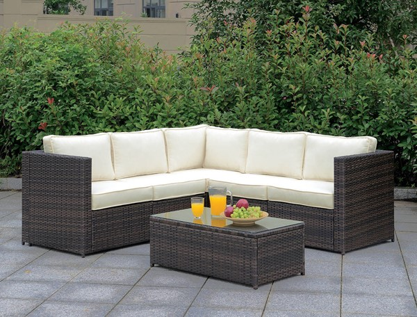 Furniture of America Ilona Brown Beige 6pc Outdoor L Sectional FOA-CM-OS2136-SET9