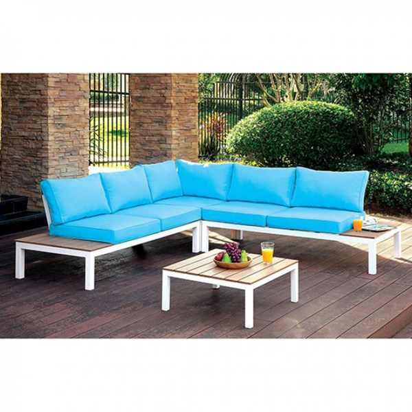 Furniture of America Winona Blue Patio Sectional with Table FOA-CM-OS2580-PK