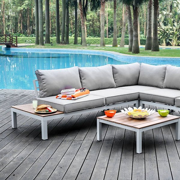 Furniture of America Winona Gray Patio Sectional with Table FOA-CM-OS2580GY-PK