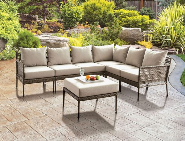 Furniture Of America Aleisha Gray Beige Patio Sectional with Ottoman FOA-CM-OS2599-SECT-OT