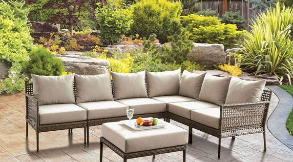 Furniture Of America Aleisha Gray Beige Patio Sectional FOA-CM-OS2599-SECT