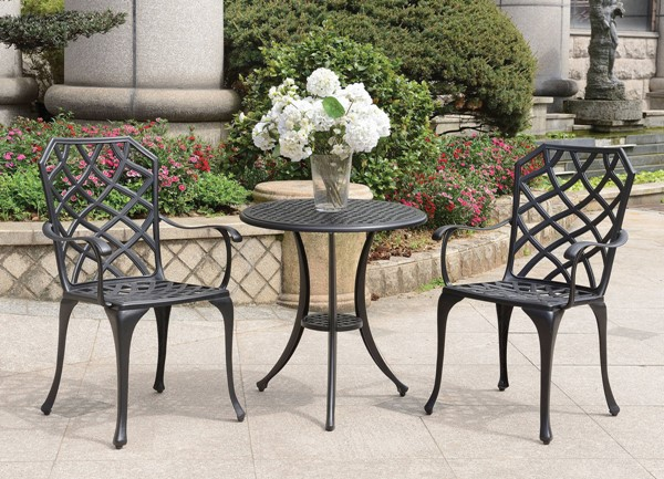 Furniture of America Crary Black 3pc Round Bistro Table Set with Arm Chair FOA-CM-OT1702BK-3PK