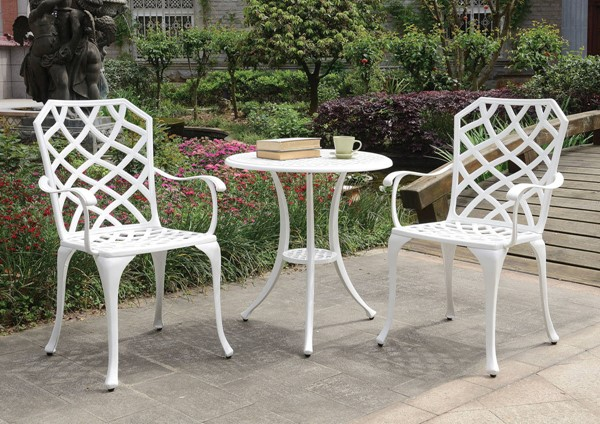Furniture of America Crary White 3pc Round Bistro Table Set with Arm Chair FOA-CM-OT1702WH-3PK