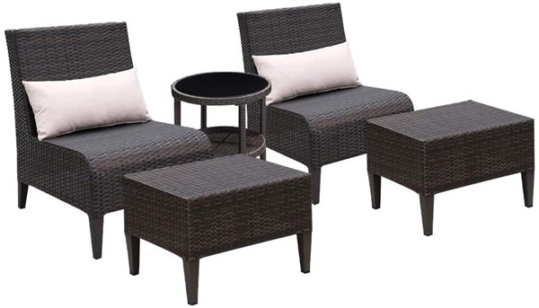 Furniture of America Vashira Brown 5pc Outdoor Chair Set FOA-CM-OT2549BR-5PK