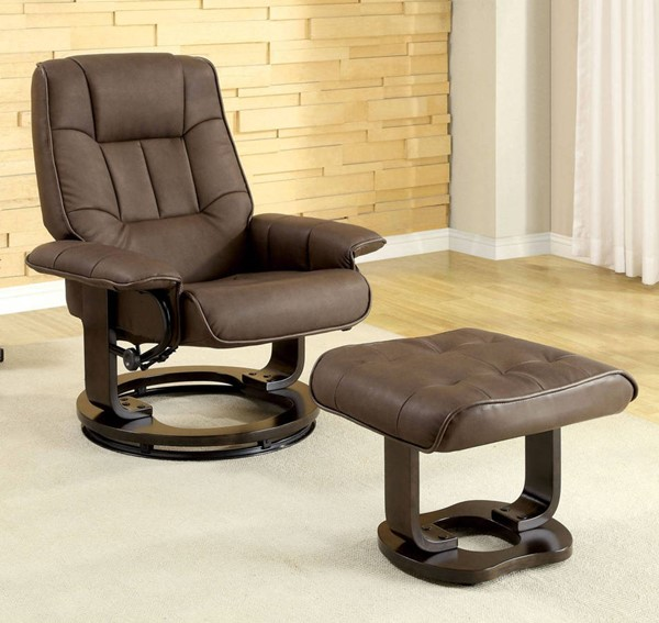 Furniture of America Cheste Brown Lounger with Ottoman FOA-CM-RC6920