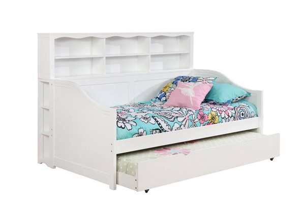 Furniture Of America Frida White Bookcase Daybed with Trundle FOA-CM1950WH-BC-TR-DBED