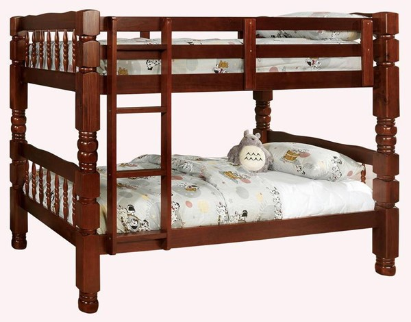 Furniture of America Carolina Cherry Twin Over Twin Bunk Bed FOA-CM2527CH-BED