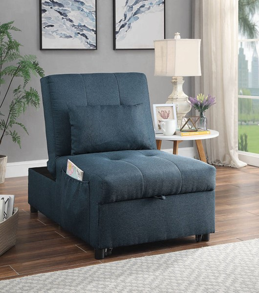 Furniture of America Noonan Blue Futon with Pillow FOA-CM2544BL