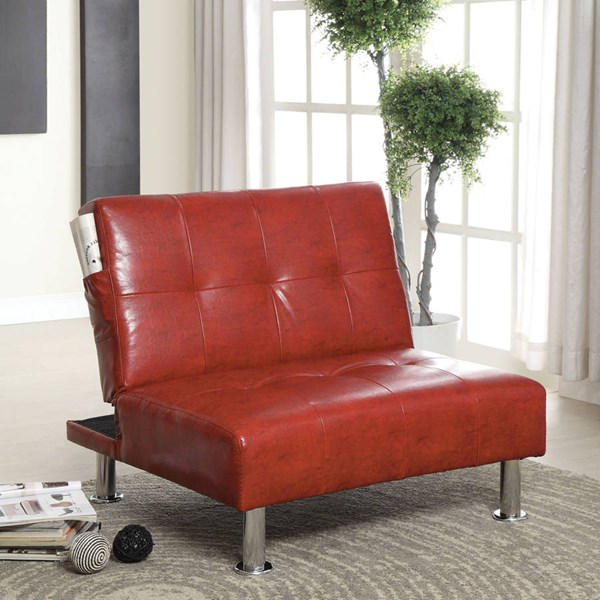 Furniture of America Bulle Red Side Pockets Chair FOA-CM2669RD-CH