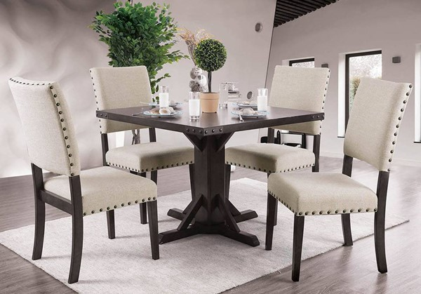 Furniture of America Glenbrook Brown Cherry Ivory 5pc Dining Room Set FOA-CM3018T-5PC