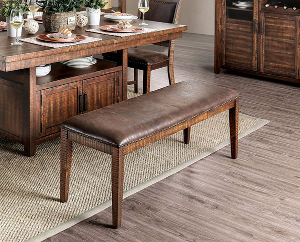 Furniture of America Wichita Light Walnut Dining Bench FOA-CM3061BN