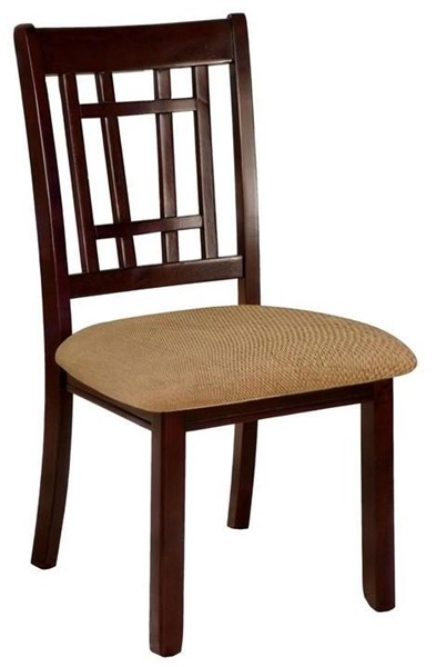 2 Furniture of America Central Park I Dark Cherry Oak Side Chairs FOA-CM3100SC-DK-2PK