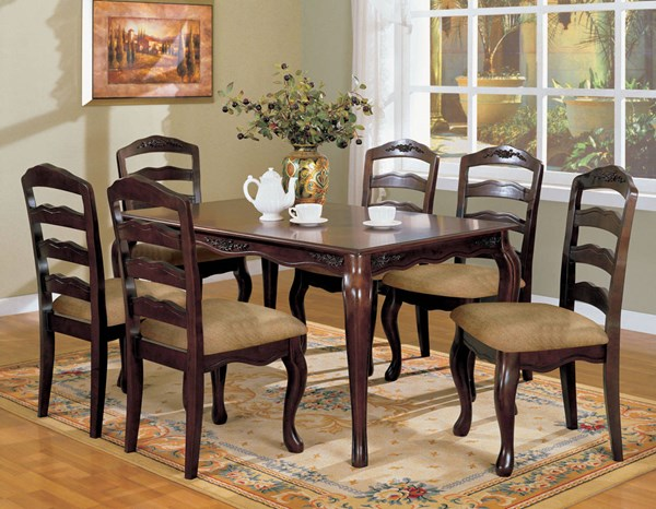Townsville Cottage Dark Walnut Fabric Solid Wood Dining Room Set FOA-CM3109-DR
