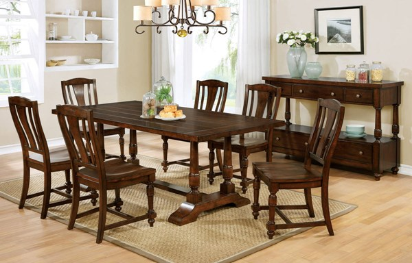 Griselda Transitional Brown Cherry Solid Wood Dining Room Set FOA-CM3136-DR
