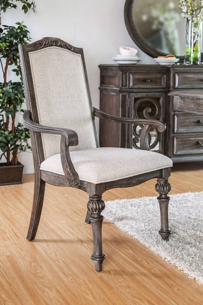 2 Furniture Of America Arcadia Ivory Arm Chairs FOA-CM3150AC-2PK