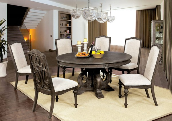 Furniture of America Arcadia Natural Tone 7pc Round Dining Room Set FOA-CM3150RT-7PC