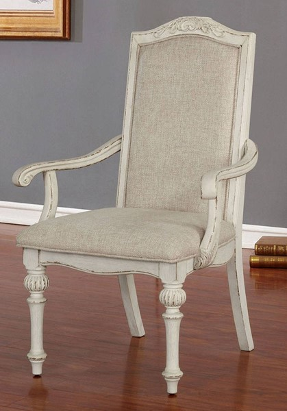 2 Furniture Of America Arcadia Antique White Arm Chairs FOA-CM3150WH-AC-2PK