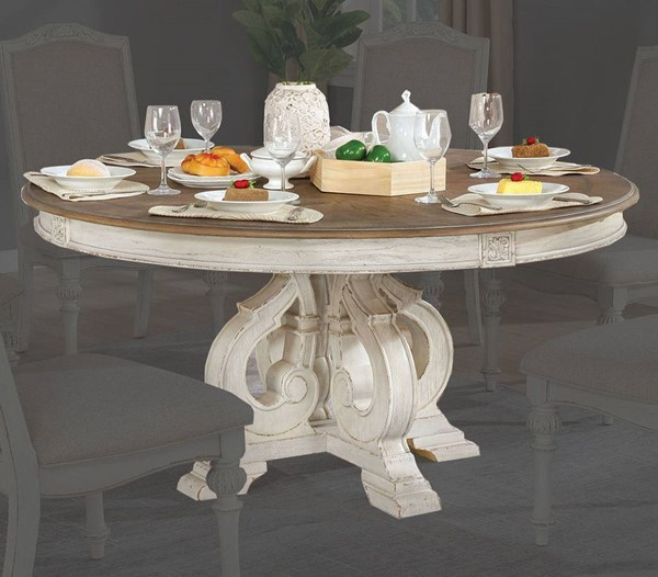 Furniture Of America Arcadia Antique White Round Dining Table FOA-CM3150WH-RT
