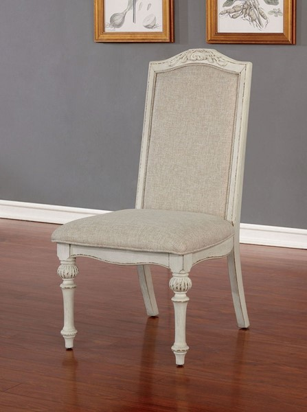 2 Furniture Of America Arcadia Antique White Side Chairs FOA-CM3150WH-SC-2PK