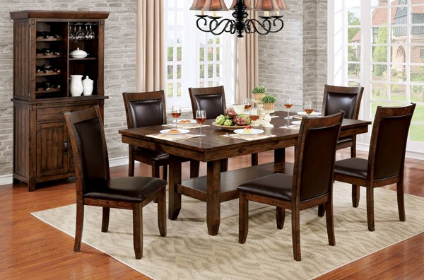 Meagan I Brown Cherry Solid Wood Espresso Leatherette Dining Room Set FOA-CM3152-DR