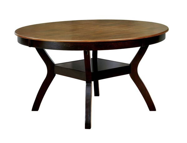 Furniture Of America Juniper Dark Brown Oak Round Table FOA-CM3162DK-RT