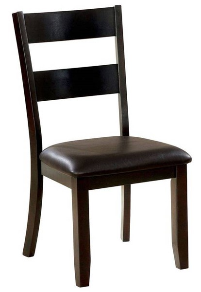 2 Furniture Of America Juniper Dark Brown Side Chairs FOA-CM3162DK-SC-2PK