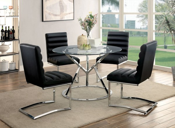 Livada I Black White Leatherette Chrome Metal Dining Room Set FOA-CM3170-DR