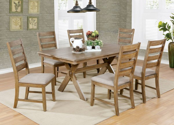 Xochil Natural Tone Beige Fabric Solid Wood Dining Room Set FOA-CM3171-DR