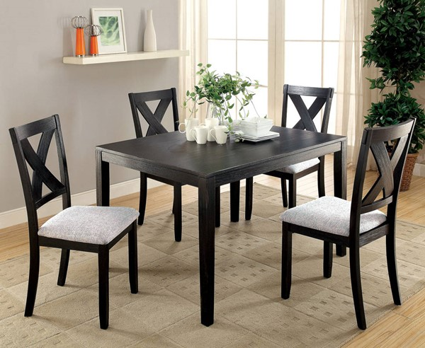 Glenham Transitional Black Solid Fabric Wood 5pc Dining Room Set FOA-CM3175T-5PK