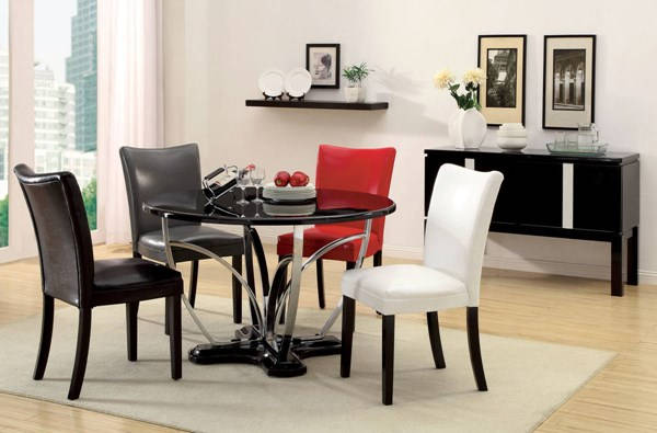 Furniture of America Belliz Black Round Dining Table FOA-CM3177BK-T