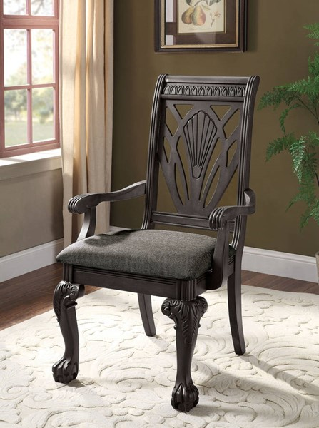 2 Furniture of America Petersburg Dark Gray Arm Chairs FOA-CM3185DG-AC-2PK