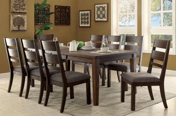 Isadora Transitional Espresso Solid Wood Fabric Dining Room Set FOA-CM3191-DR