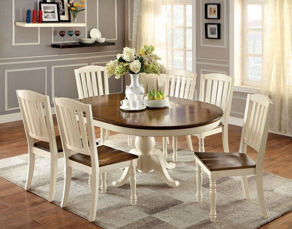 Furniture of America Harrisburg Oval 18 Inch Leaf Dining Table FOA-CM3216OT-TABLE