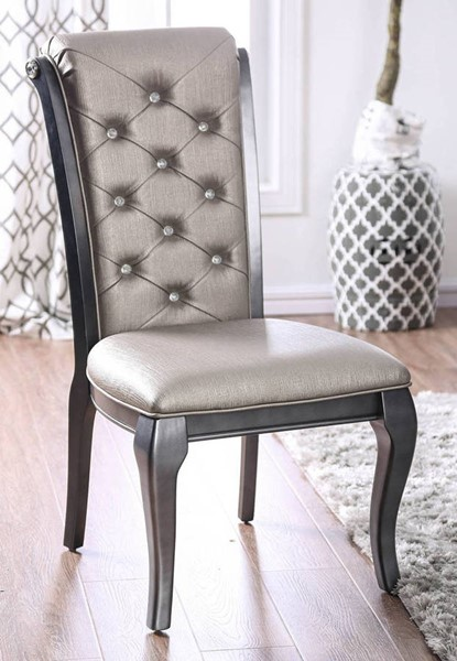 2 Furniture Of America Amina Gray Side Chairs FOA-CM3219GY-SC-2PK