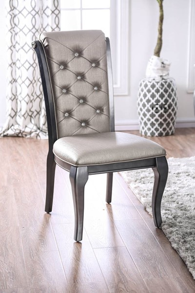 2 Furniture of America Amine Gray Side Chairs FOA-CM3219GY-SC-2PK
