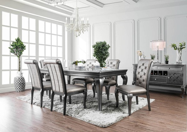 Furniture of America Amina Gray 84 Inch 7pc Dining Room Set FOA-CM3219GY-T-7PC