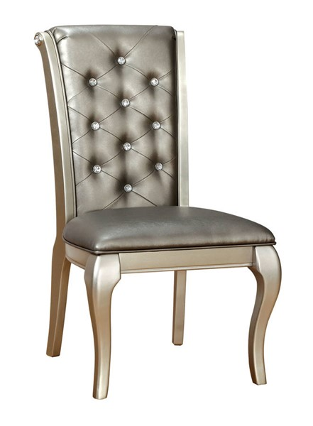 2 Furniture Of America Amina Champagne Side Chairs FOA-CM3219SC-2PK